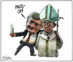Harper and Pope Cartoon Mike De Adder