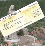 Mother Canada with UCCB Cheque