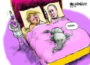 DT Putin In Bed Toon Mike Luckovich